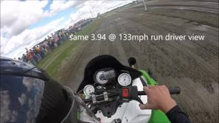 TD outlaw at haydays, 3.94 @ 133mph in 500 feet Stock 1100 turbo CC record
