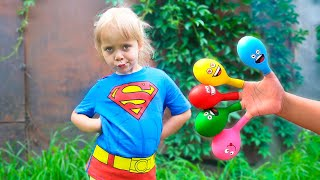Varvara learn colors with balloons | Balon Daddy Finger Family Colors Song