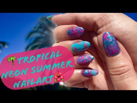 🌴🌺Tropical Neon Summer Nailart with Dixie Summer Plate-How To/DIY🌴🌺