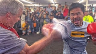Manny Pacquiao WHACKS THE PADS with Freddie Roach | FULL TRAINING VIDEO vs. Keith Thurman