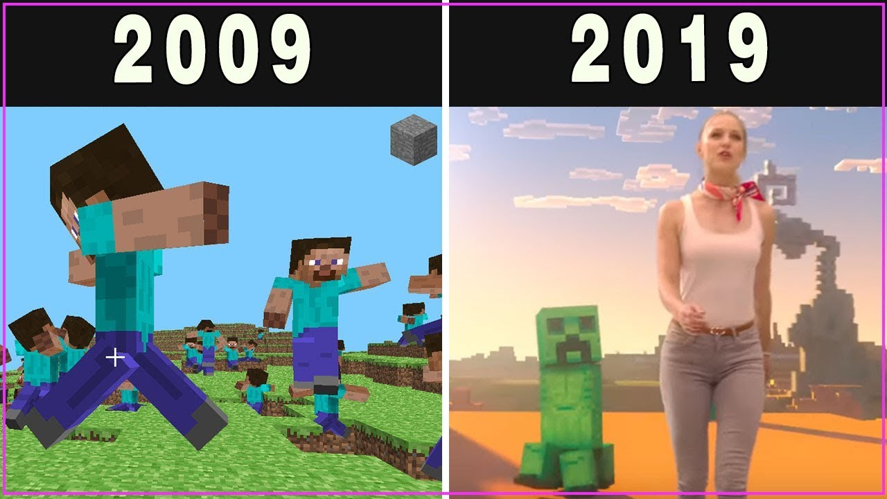 Evolution Of Minecraft Trailers Updates 2009 To 2019 Español New Youtube