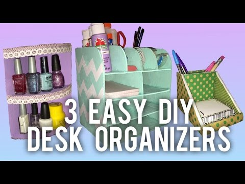 3 easy diy desk organizer ideas youtube. Black Bedroom Furniture Sets. Home Design Ideas