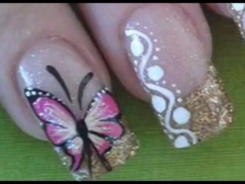 Dise o de u as 809 estilo fino y elegante con mariposas - Disenos de unas con mariposas faciles ...