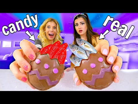 Chocolate Kinder Egg Surprise Challenge! Real vs Candy Food ft. Rebecca Zamolo
