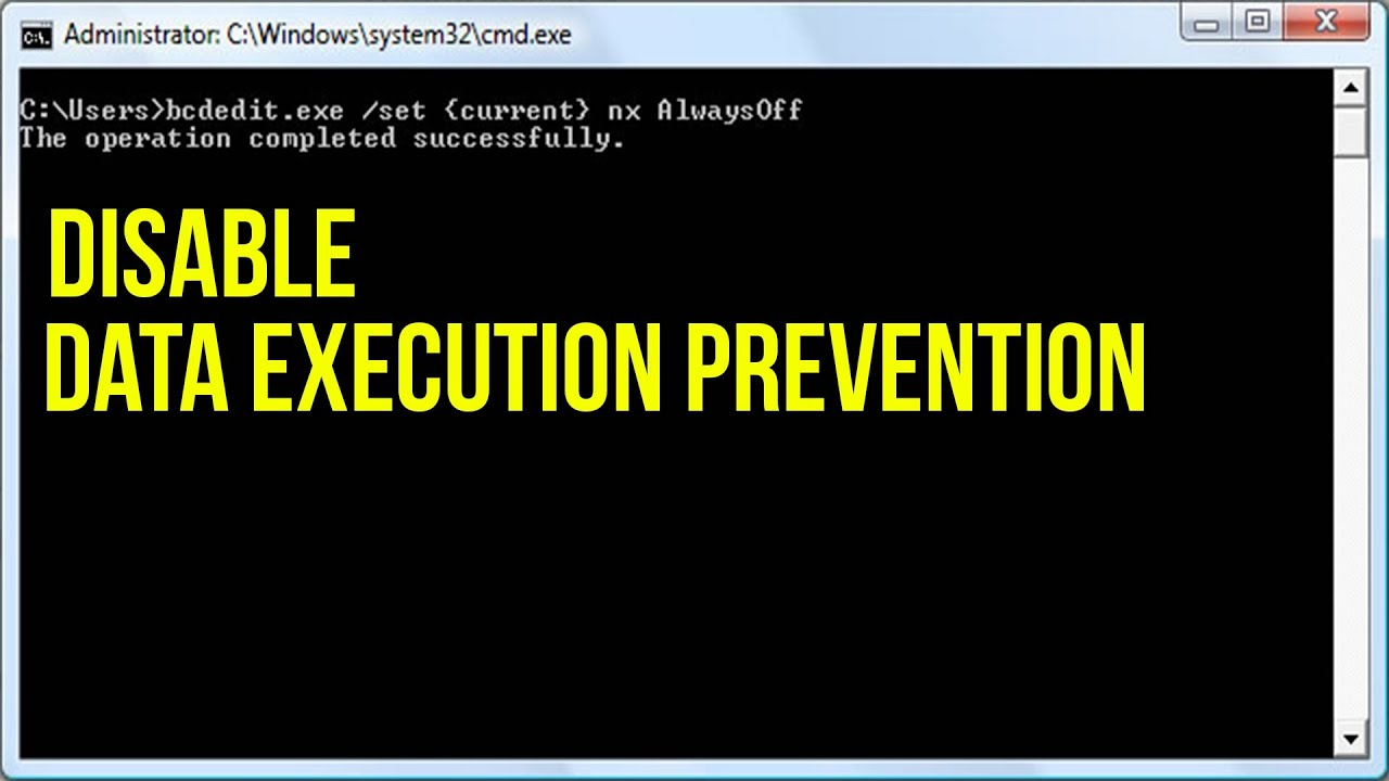 Image result for how to stop data execution prevention in windows 7