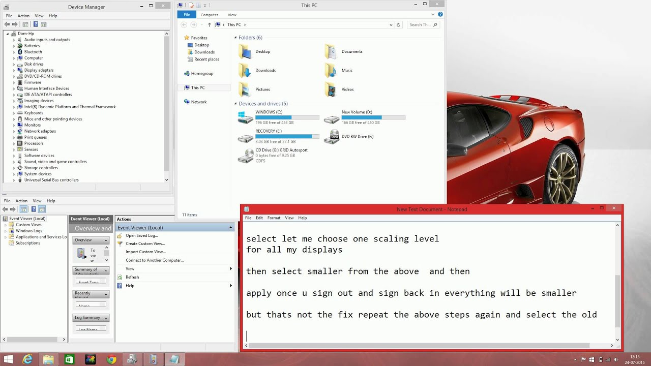 blurry text issue fix for hp pavilion 15 ab032tx running on