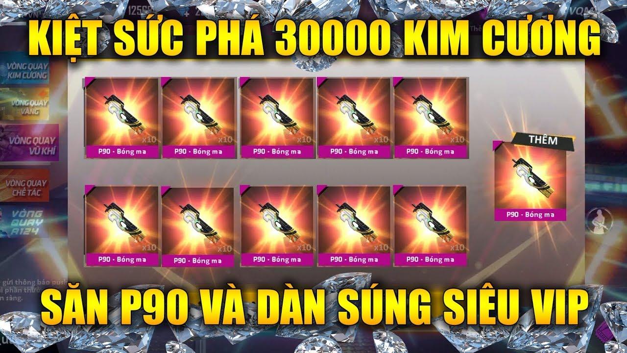Free Fire | Kiệt Sức Phá 30000 Kim Cương Săn P90 Bóng Ma Dàn Súng VIP Cùng Bâng Thiếu Gia | Rikaki