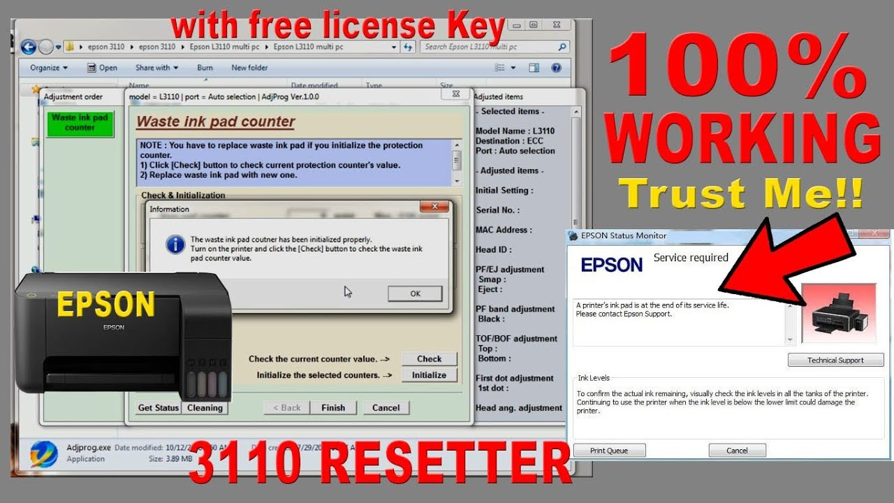 How to reset Epson 3110 | Re-setter Free Download