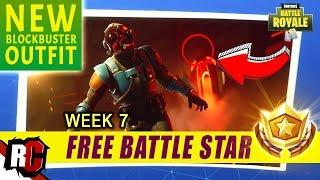 Secret Battle Star Location WEEK 7 | Fortnite (NEW Blockbuster Outfit - Blockbuster Loading Screen)