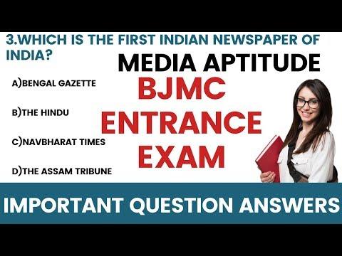 Media Aptitude BJMC Entrance Exam Important Question Answers|Mass Communication Exam Preparation