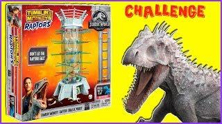 Jurassic World KERPLUNK w/ RAPTORS Dinosaur Board Game Challenge - Toy Dinosaurs Video