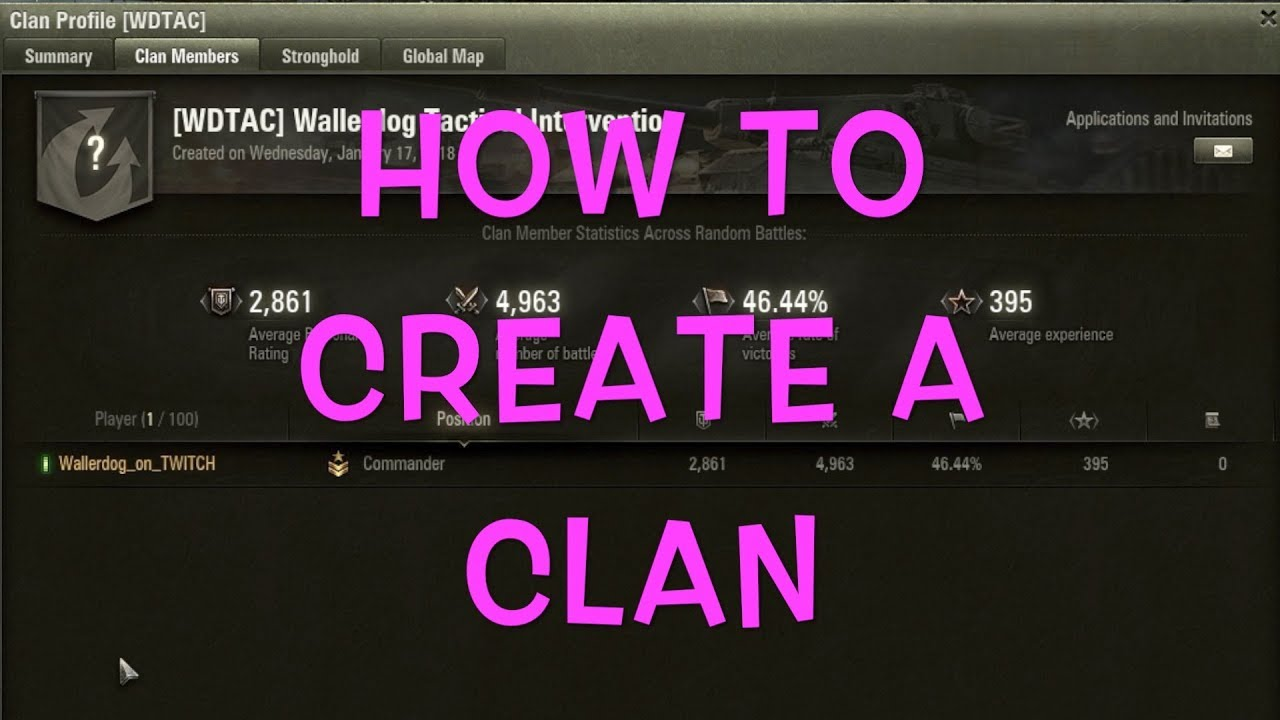 How to create a clan in tanks 41