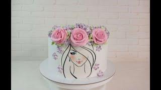 торт с ДЕВУШКОЙ Украшение торта белково заварным кремом Торт на 16 летие Как украсить торт бзк