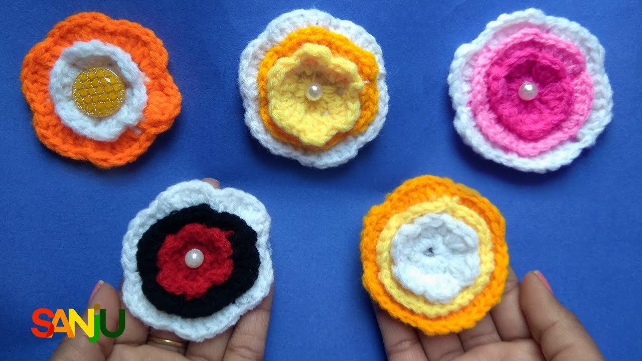 Crochet flower for cap girls frock flower bouquet youtube crochet flower for cap girls frock flower bouquet izmirmasajfo