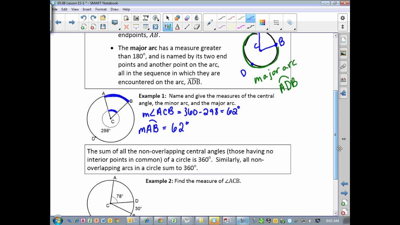 Geometry Lesson 15-1 Arcs, semicircles, and central angles ...