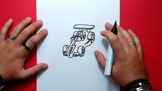 Como dibujar un coche de carreras paso a paso   How to draw a race car