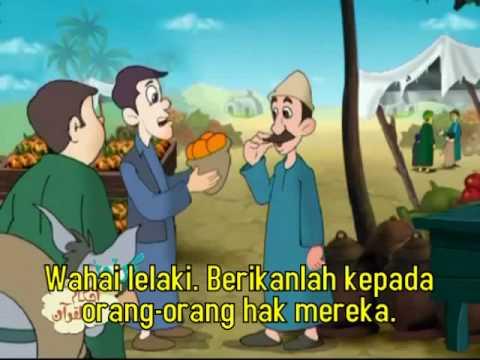 Kartun Bahasa Arab terjemahan bahasa Melayu tentang kecurangan dalam jual-beli. (Al Mutaffifin)