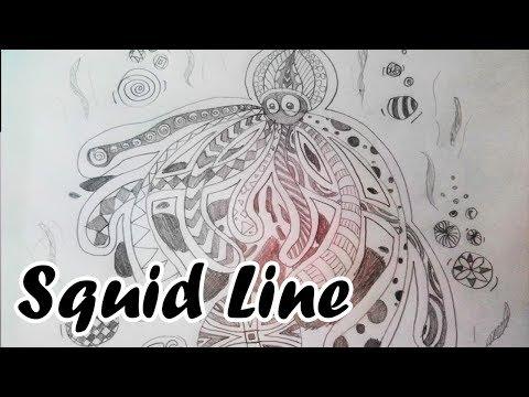 Drawing Line Octopus : งานลายเส้นปลาหมึก