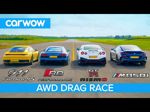 New 911 vs GT-R NISMO vs Audi R8 vs BMW M850i – DRAG RACE, ROLLING RACE & BRAKE TEST