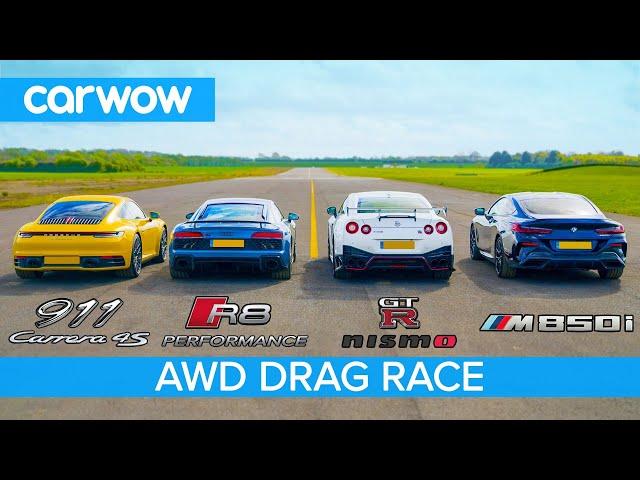 New 911 vs GT-R NISMO vs Audi R8 vs BMW M850i - DRAG RACE, ROLLING RACE & BRAKE TEST