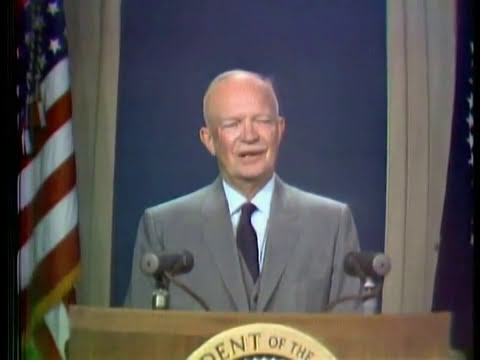 Dwight Eisenhower gives First color TV broadcast