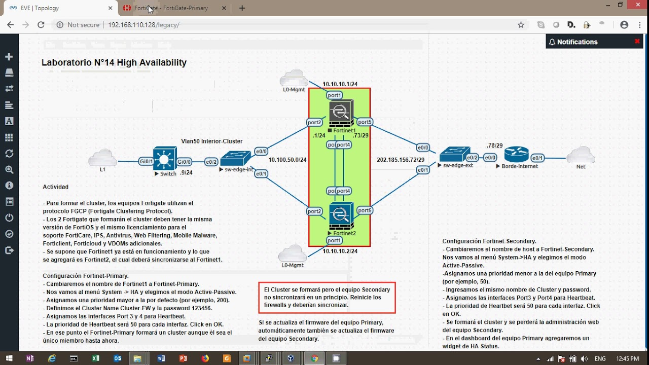 Preview Lab Fortinet Fortigate HA on EVE-ng (part 2) (spanish)