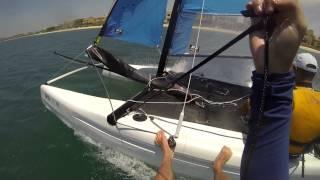 Sailing through the Palm Jumeirah on a Catamaran