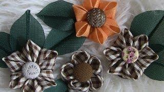 Flor de fitas e miolo com botões Passo a Passo -fabric flowers por flor do jardim