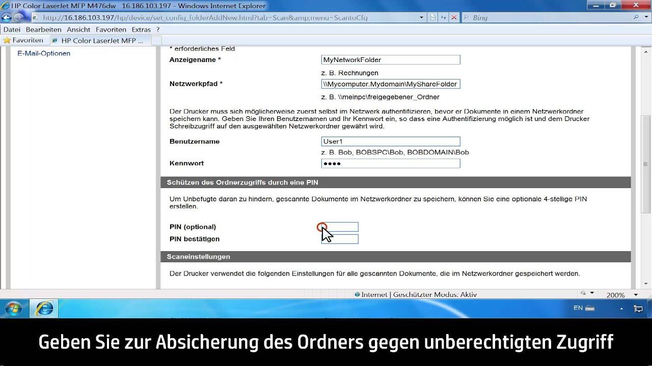 """Einrichten der Funktion """"Scannen in Netzwerkordner"""" mit integriertem HP  Web-Server (EWS)"""