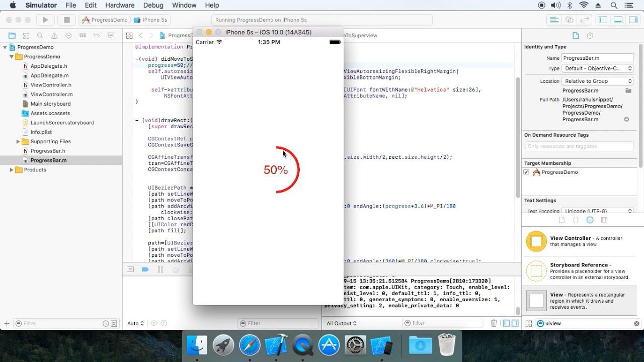 IOS Circular Progressbar using Objective C (cocoa framework)