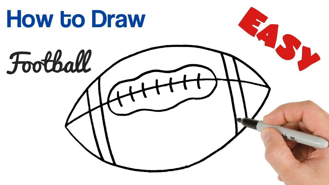 How To Draw A Football American Ball Easy Youtube