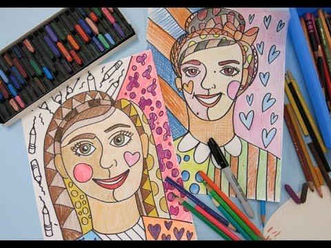 Romero Britto-Inspired Self-Portraits for Fourth Grade