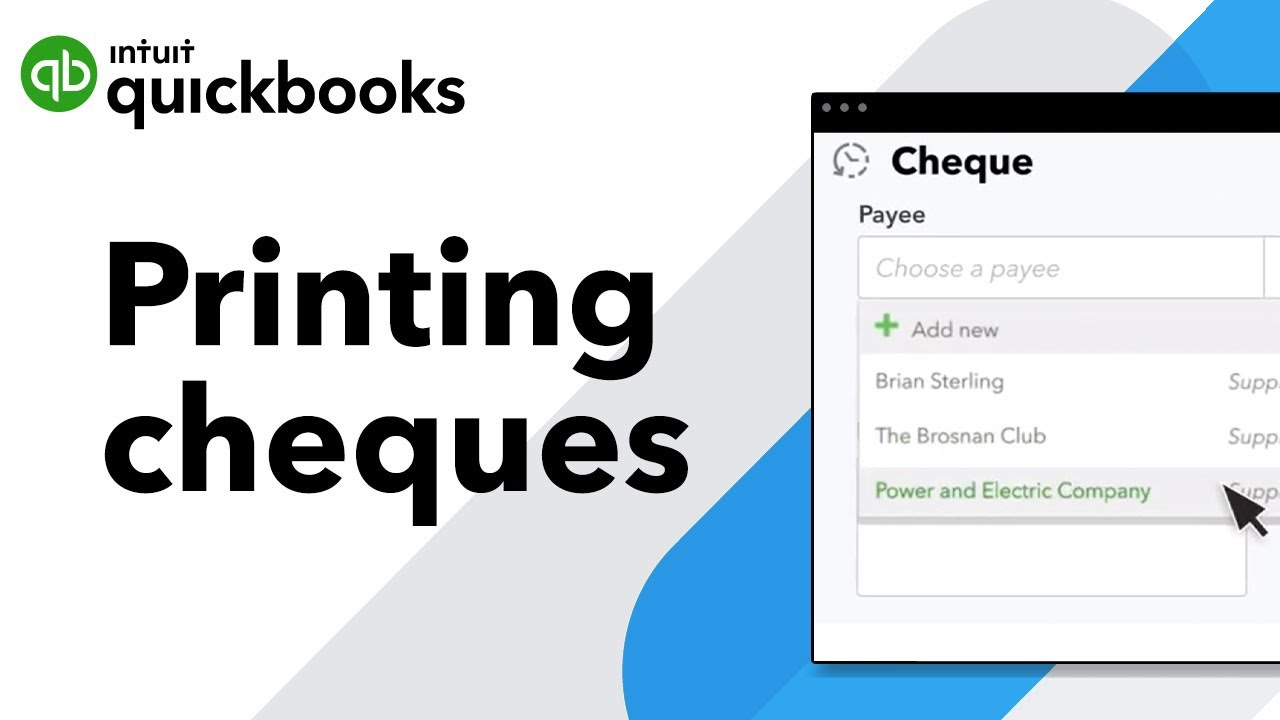 Create and record cheques in QuickBooks Online