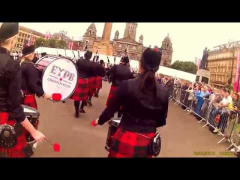 Edmonton Youth Pipe Band marching into George Square in Glasgow