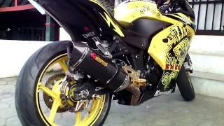 Modifikasi Ninja 250 Fi TERKEREN ( modif cat stiker cutting kuning, knalpot Akrapovic, stang jepit )