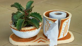 Cement Craft Ideas -💥✨ NEW IDEA💥✨Make THEAD SEWN Cement pot with TOILET PAPER HOLDER.👌💕💕👌