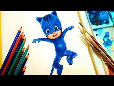 draw and Color PJ MASKS Disney Jr. ❤ CATBOY ❤