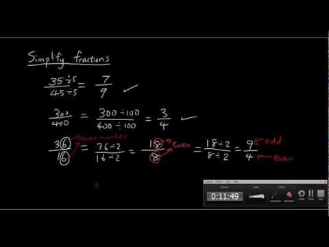 Fractions Lesson 1 - Equivalent Fractions And Simplifying Fractions 分數教學 英文字幕