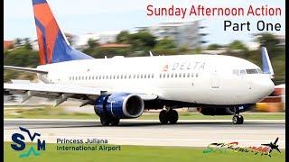 Sunday Action Part (1) Delta 737, JetBlue A320, Wesjet 738, Seaborne Saab 340...@ St. Maarten