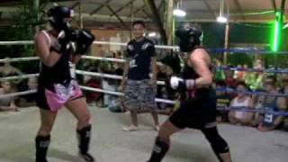 Michelle (USA) vs Tina (Denmark) at BBQ Beatdown 15 at Tiger Muay Thai, Phuket, Thailand