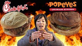 Popeyes vs. Chik-Fil-A SPICY Chicken Sandwich   Emmymade Fast Food Taste Test