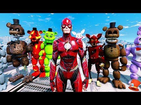 ANIMATRONICS & JUSTICE LEAGUE THE FLASH! (GTA 5 Mods For Kids FNAF RedHatter)
