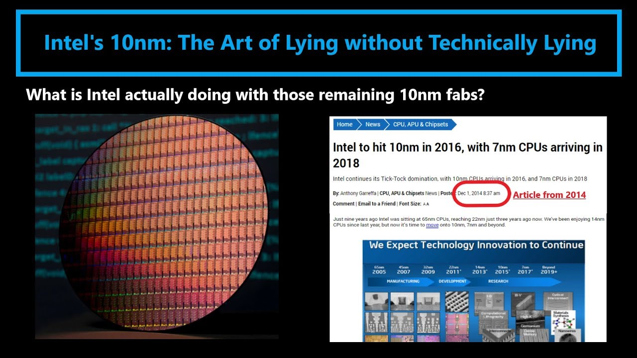 Intel 10nm: The Art of Lying without Technically Lying