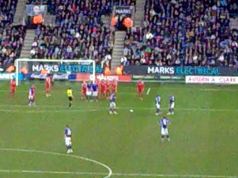 Leicester vs Forest Gallagher free kick kop view