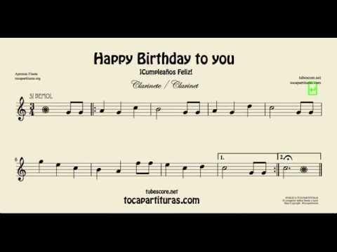 Cumpleaños Feliz Partitura de Clarinete