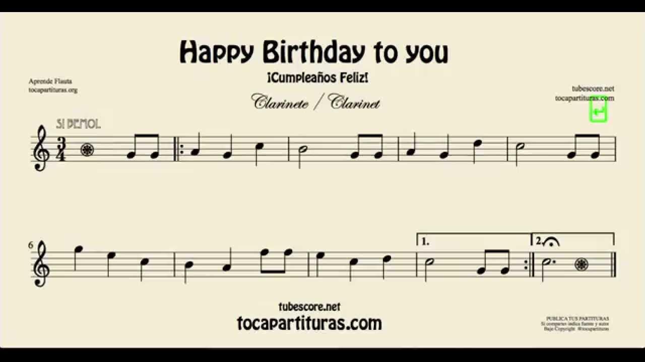 Cumplea os feliz partitura de clarinete youtube - Cumpleanos feliz piano ...