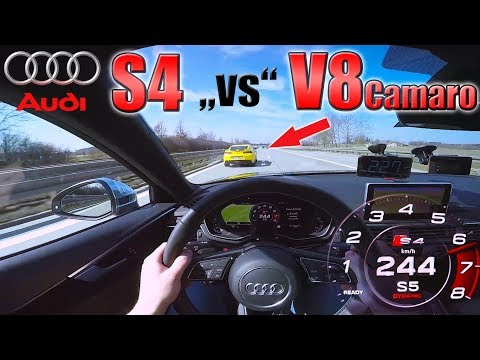 Audi S4 chasing Camaro V8 on German Autobahn ✔