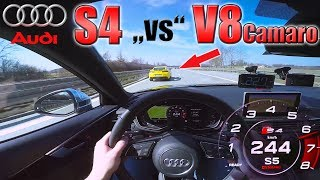 Audi S4 chasing Camaro V8 on German Autobahn ✔