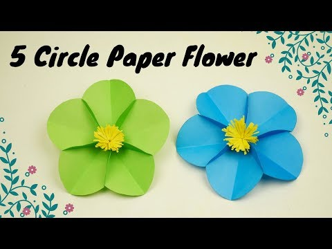 DIY Craft Paper : 5 Circle Paper Flower | How to Make 5 Circle Paper Flower | Origami Paper Flower