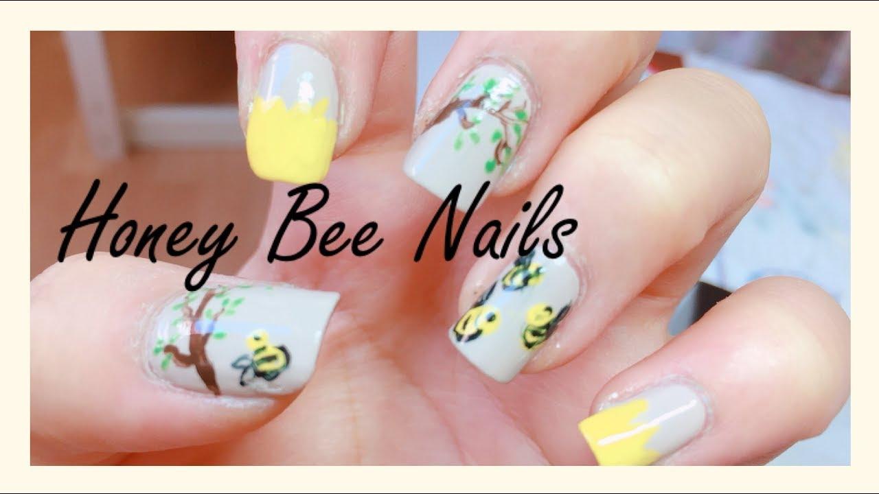 Easy Honey Bee Nails Diy Nail Art How To Draw A Honey Bee Youtube
